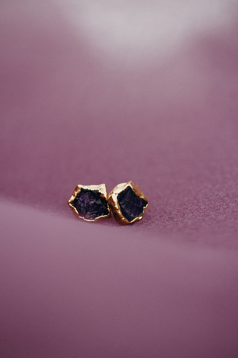 Raw Amethyst Earrings - February Birthstone Earrings