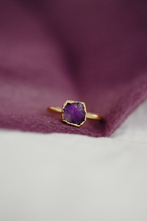 Raw Amethyst Ring - February Birthstone Ring