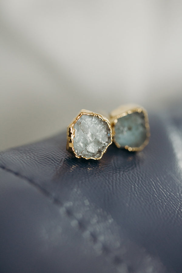 Raw Aquamarine Earrings - March Birthstone Earrings