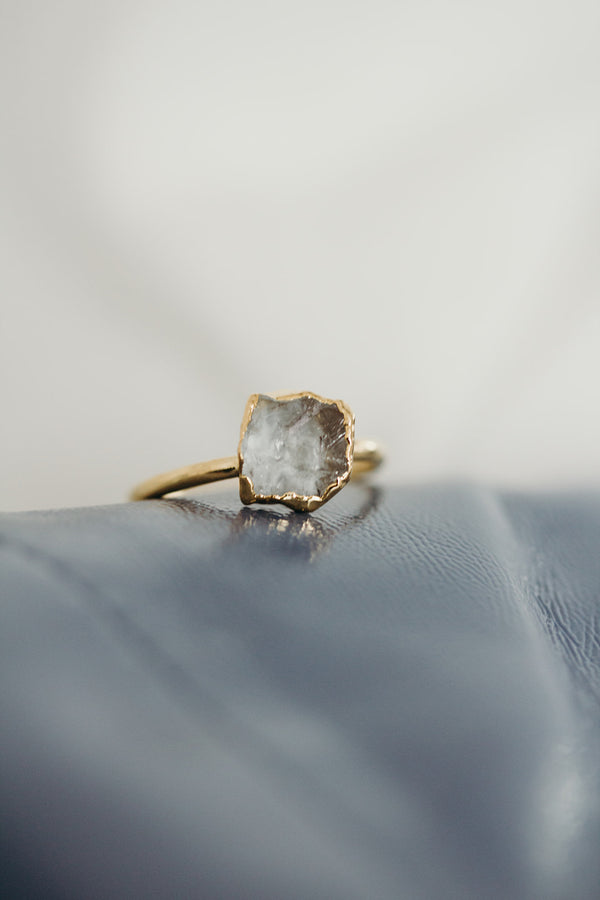 Raw Aquamarine Ring - March Birthstone Ring