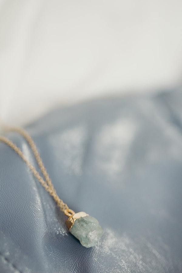 Raw Aquamarine Necklace - March Birthstone Necklace
