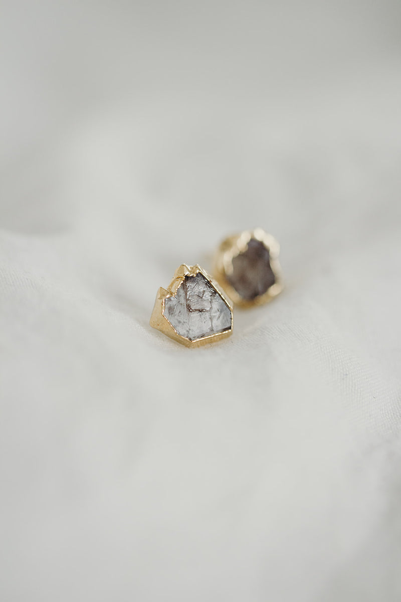 Raw Herkimer Diamond Earrings - April Birthstone Earrings