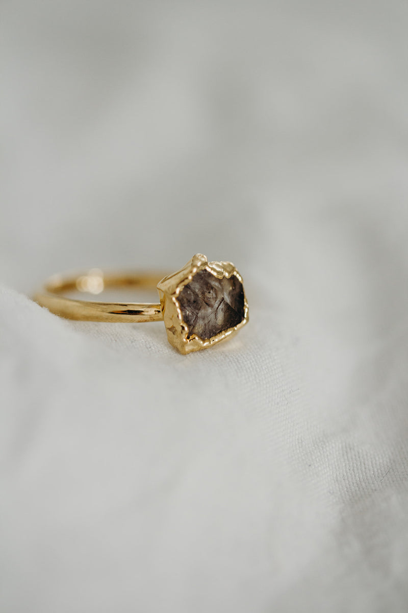 Raw Herkimer Diamond Ring - April Birthstone Ring