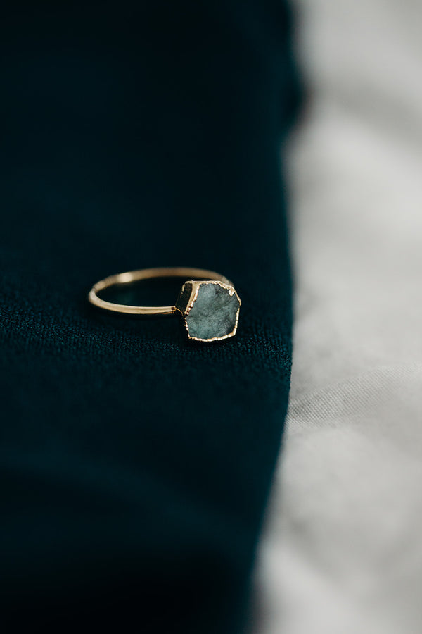 Raw Emerald Ring - May Birthstone Ring