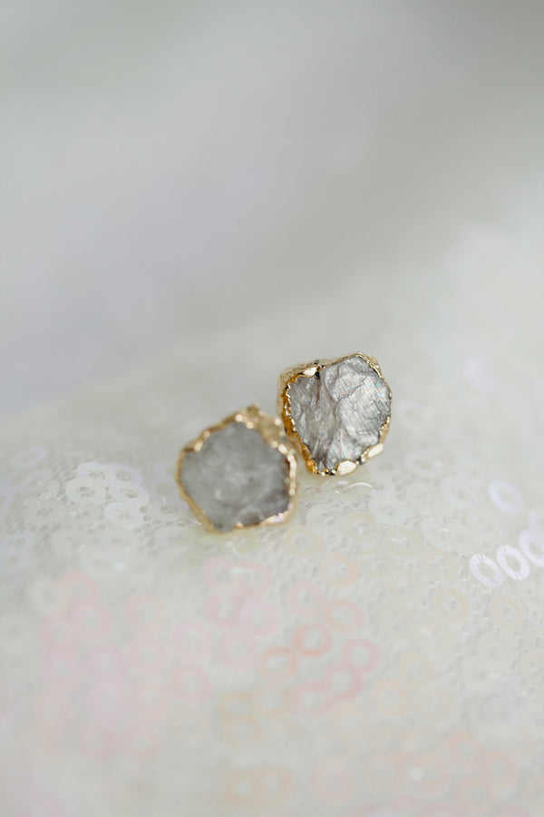 Raw Moonstone Earrings - June Birthstone Earrings