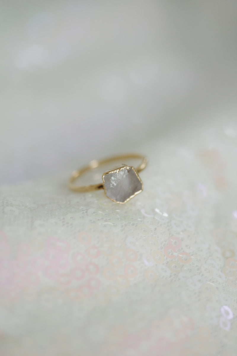 Raw Moonstone Ring - June Birthstone Ring