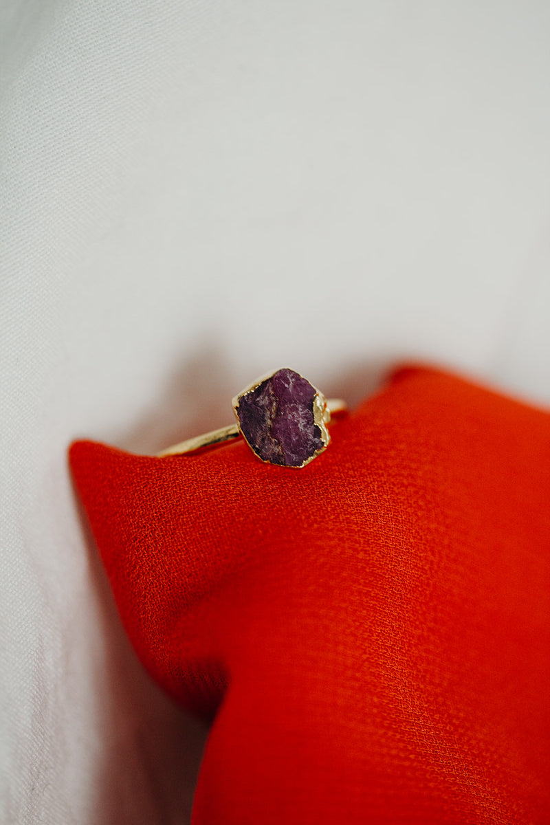 Raw Ruby Ring - July Birthstone Ring