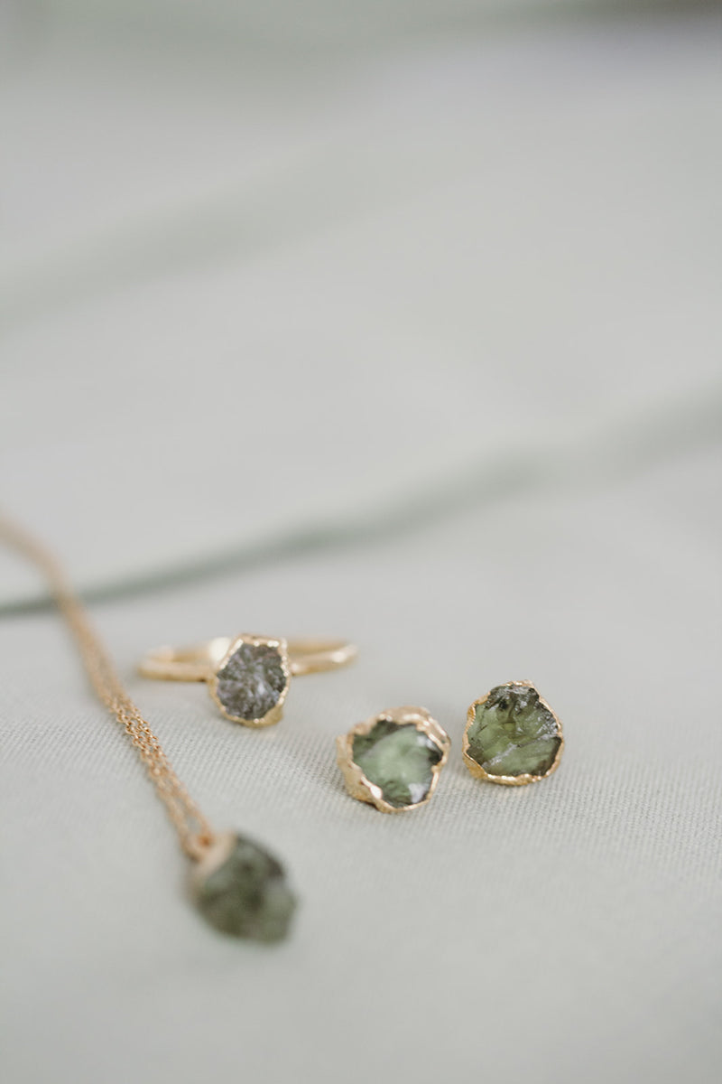 Raw Peridot Earrings - August Birthstone Earrings