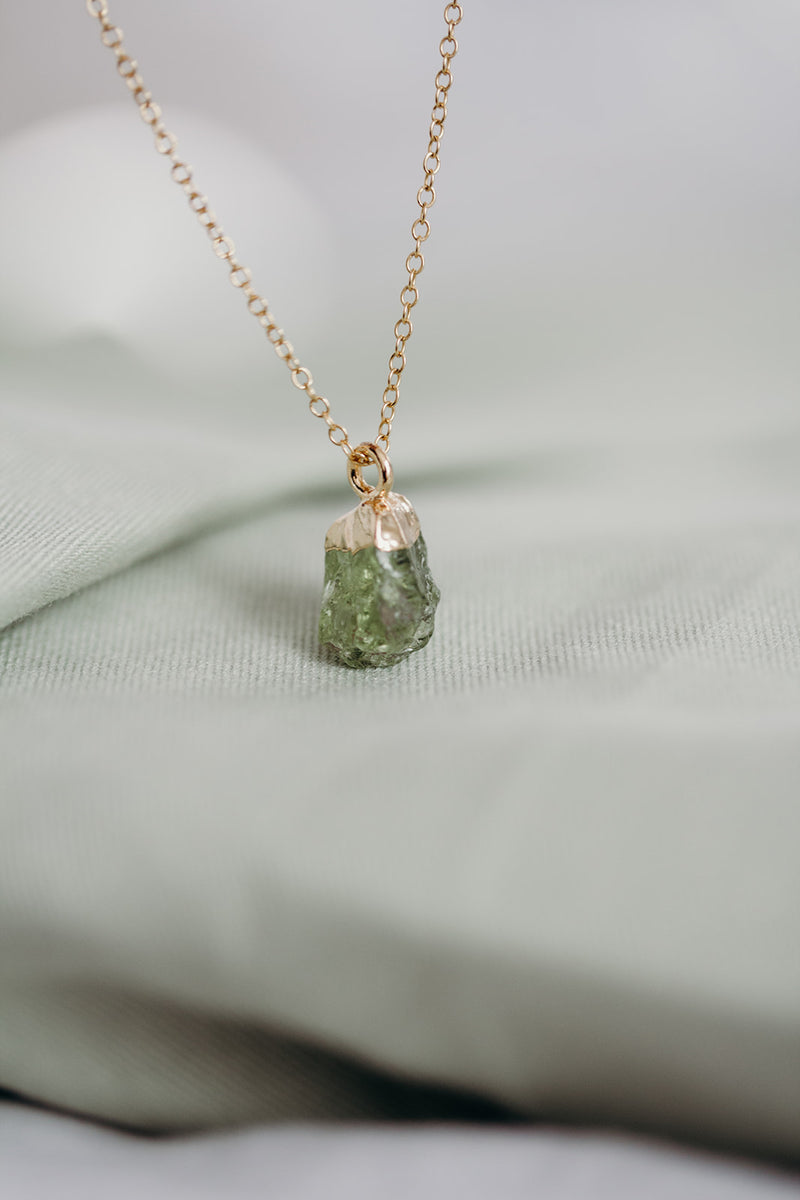 Raw Peridot Necklace - August Birthstone Necklace