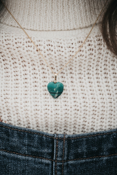 LIMITED EDITION || Green Malachite Heart Necklace