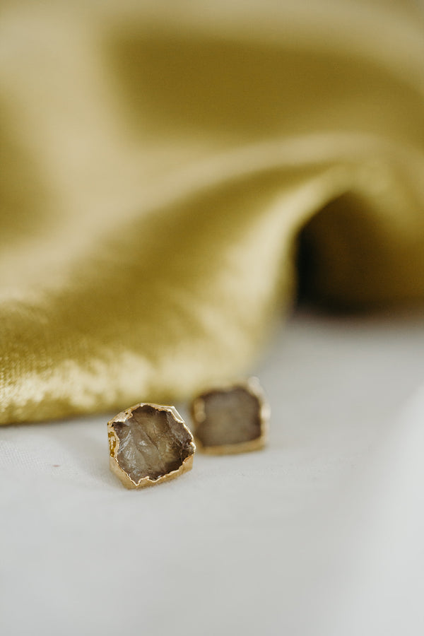 Raw Citrine Earrings - November Birthstone Earrings