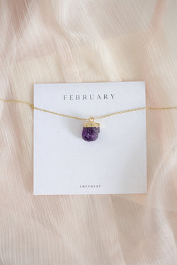Raw Amethyst Necklace - February Birthstone Necklace
