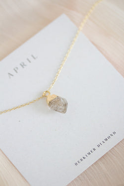 Raw Herkimer Diamond Necklace - April Birthstone Necklace
