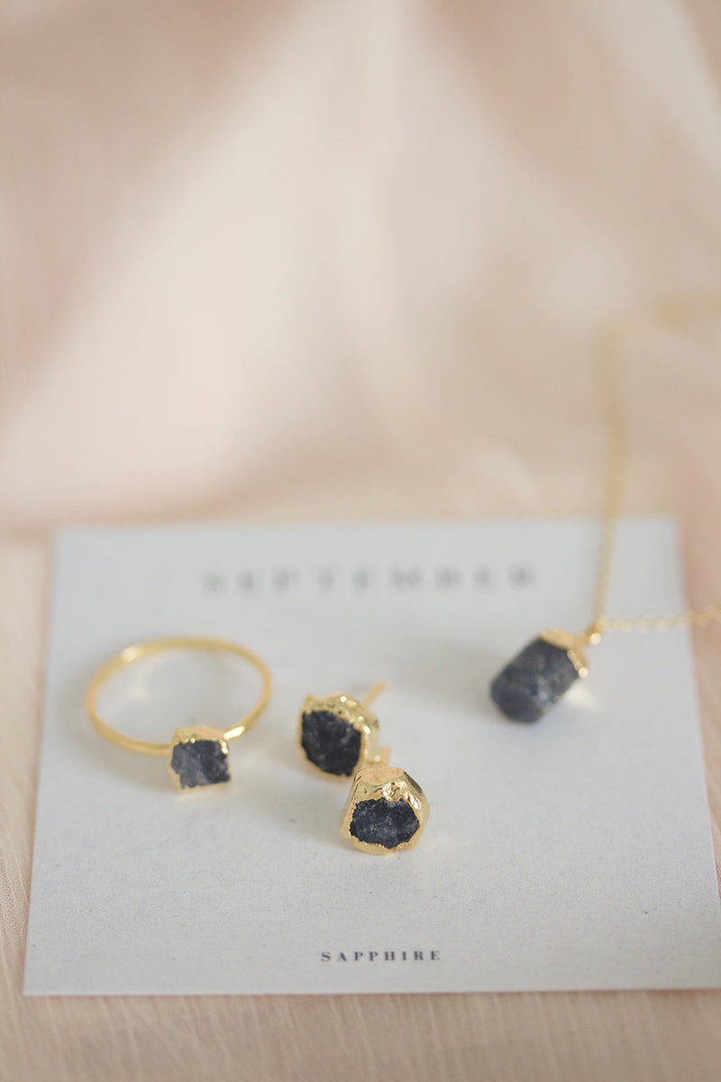 Raw Sapphire Earrings - September Birthstone Earrings