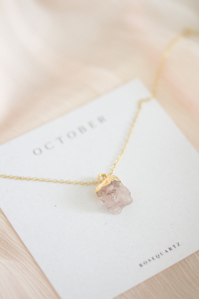 Raw Rose Quartz Necklace - October Birthstone Necklace