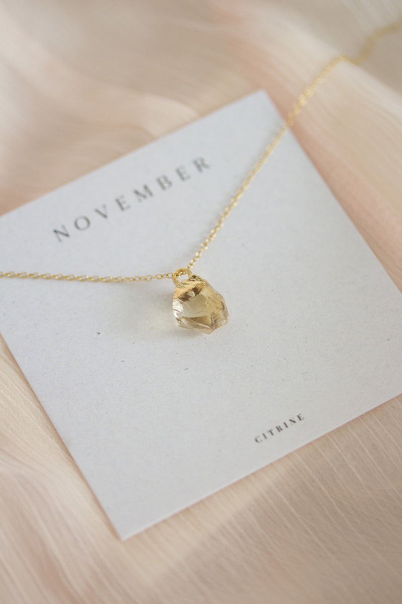 Raw Citrine Necklace - November Birthstone Necklace