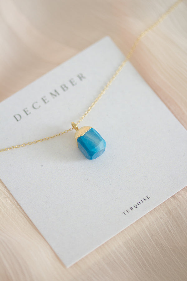 Raw Turquoise Necklace - December Birthstone Necklace