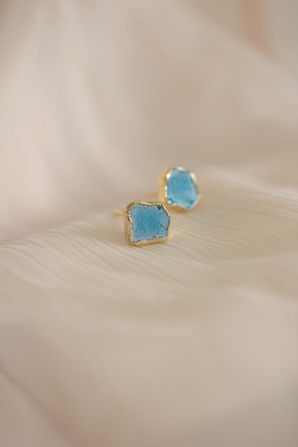 Raw Turquoise Earrings - December Birthstone Earrings