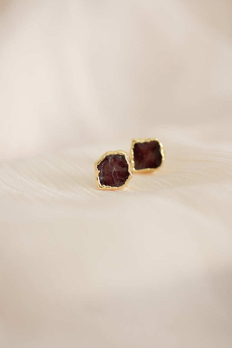 Raw Garnet Earrings - January Birthstone Earrings