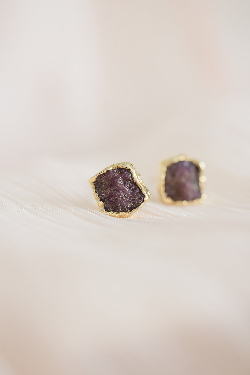 Raw Ruby Earrings - July Birthstone Earrings