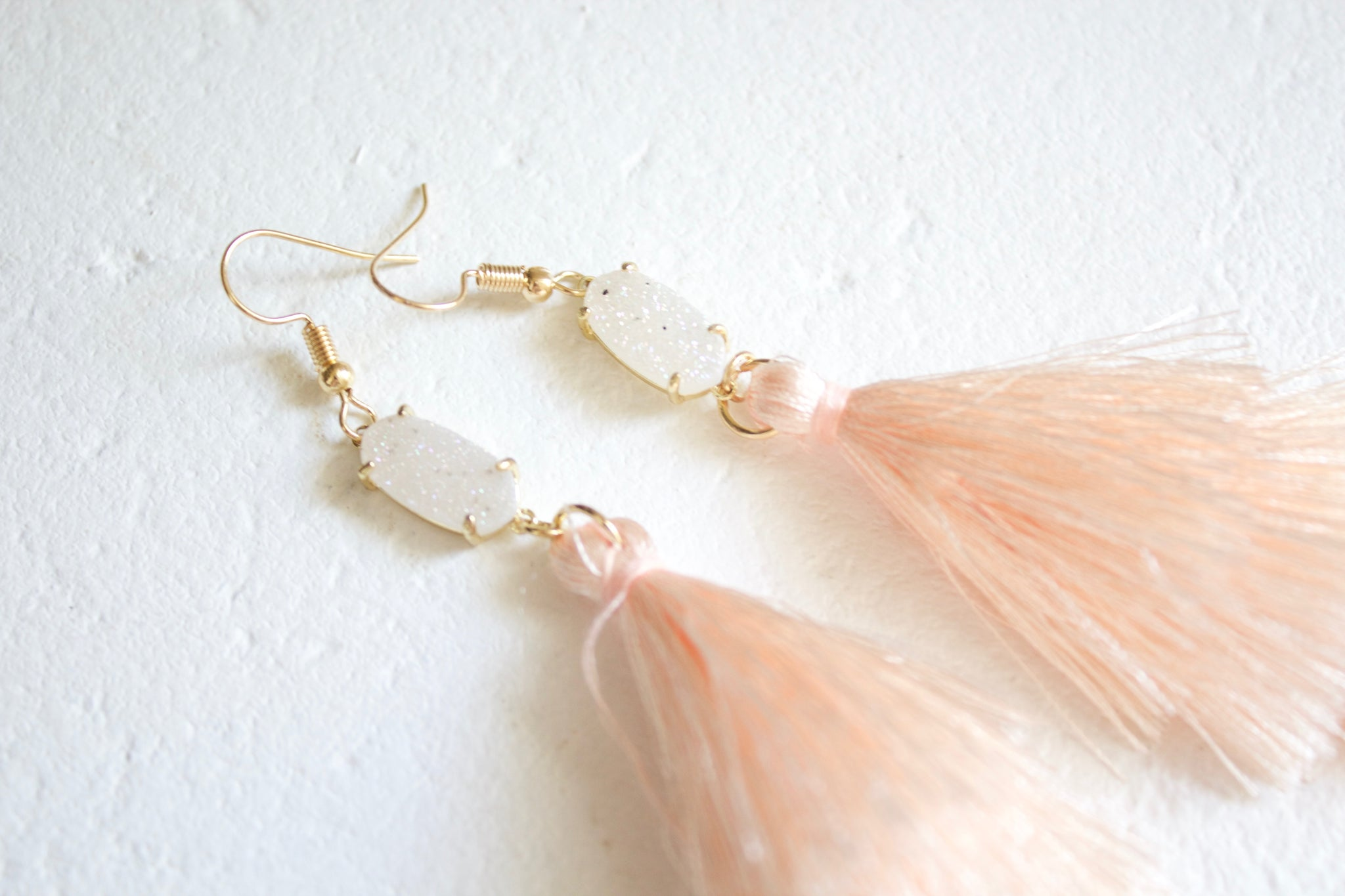 Samantha Blush Druzy Tassel Earrings