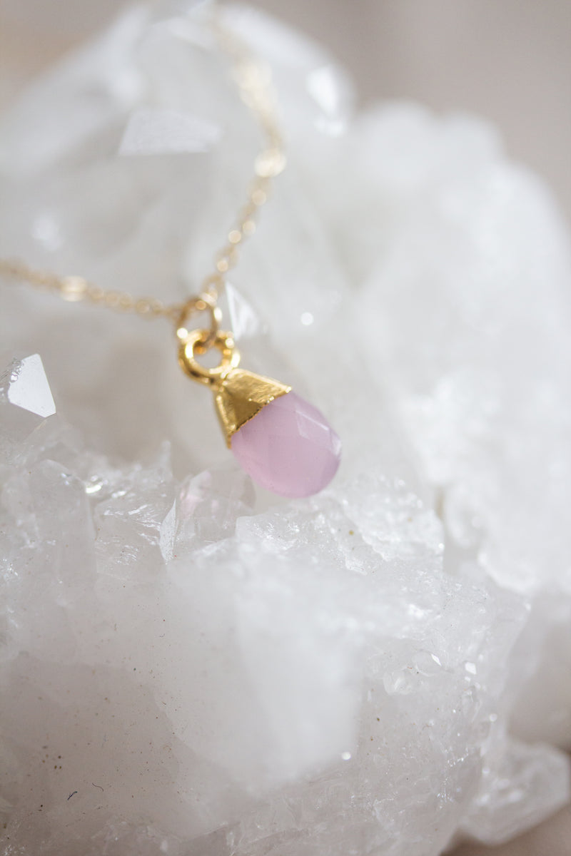 October Birthstone Necklace | Rose Quartz