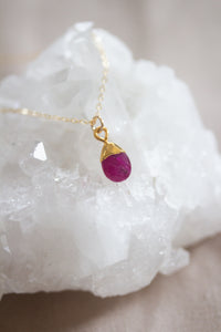 July Birthstone Necklace | Ruby