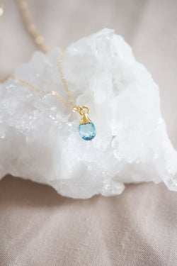 December Birthstone Necklace | Blue Topaz