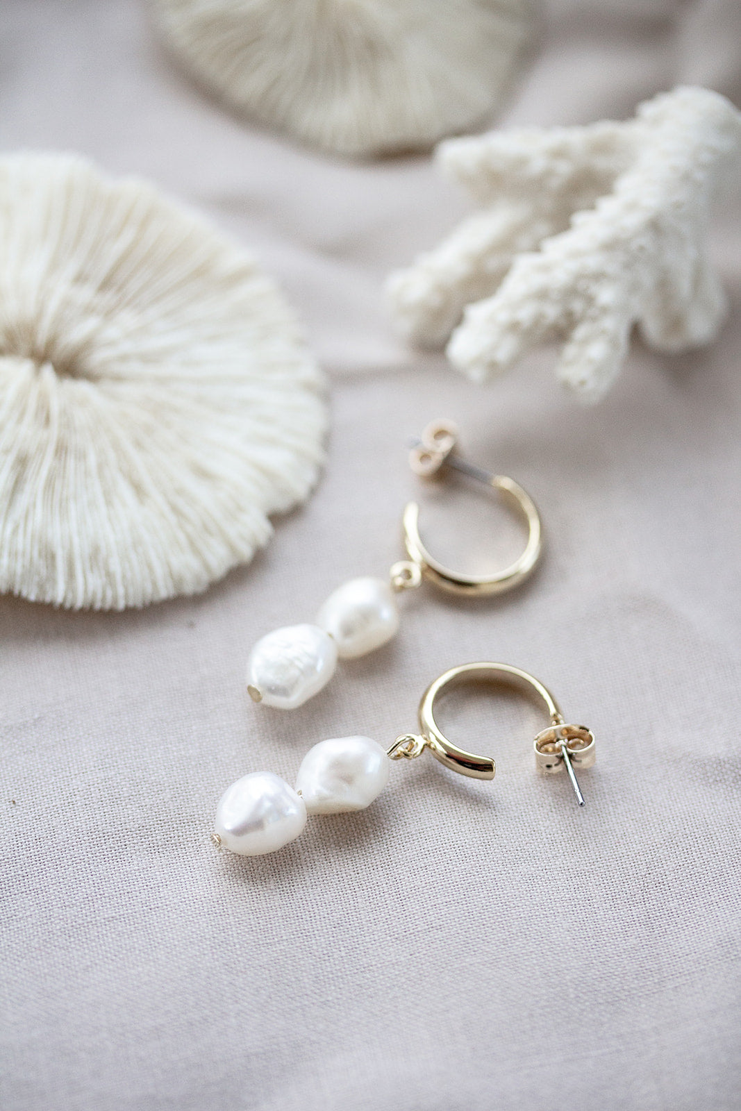 Mia Double Pearl Drop Earrings