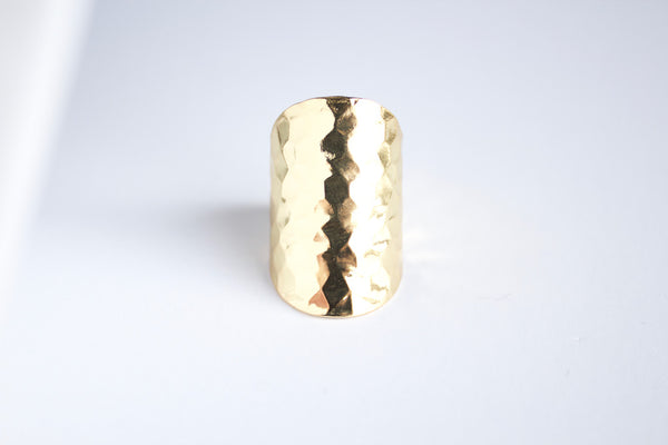 Hammered Long Boho Ring - BORCIK