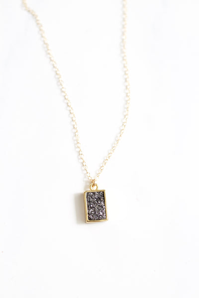 Liza Rectangle Druzy Necklace