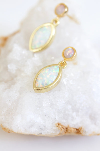 Double Opal Marquis Drop Earrings