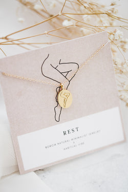 """Rest"" Line Drawing Necklace"