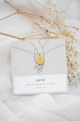 """Love"" Line Drawing Necklace"