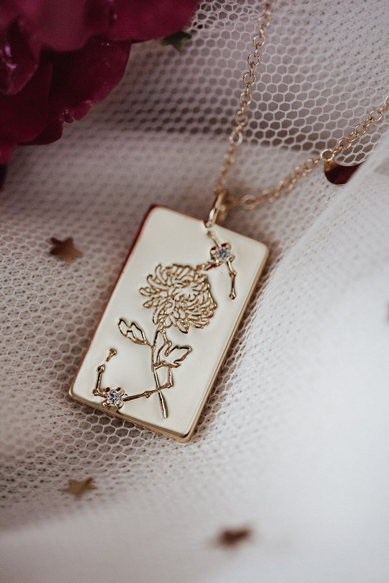 Birth Flower Zodiac Necklace- Scorpio Chrysanthemum- November 1-22
