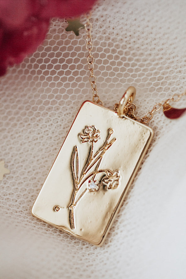 Birth Flower Zodiac Necklace- Aries Daffodil- March 21-31