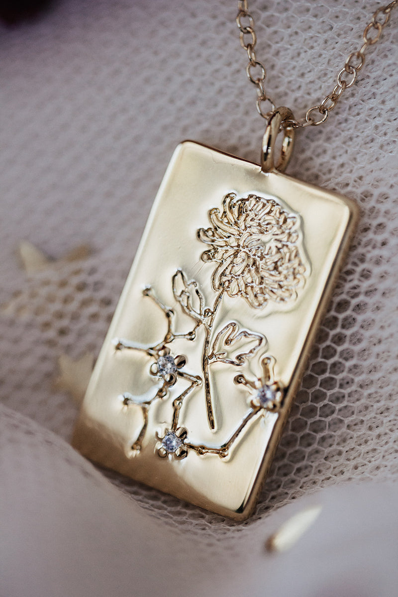 Birth Flower Zodiac Necklace- Sagitarius Chrysanthemum- November 23-30
