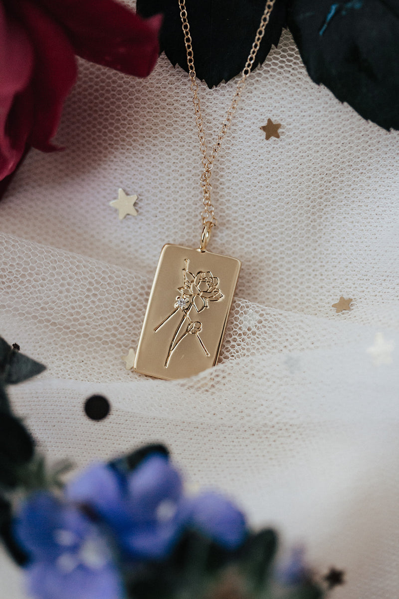 Birth Flower Zodiac Necklace- Cancer Lotus-July 1-22