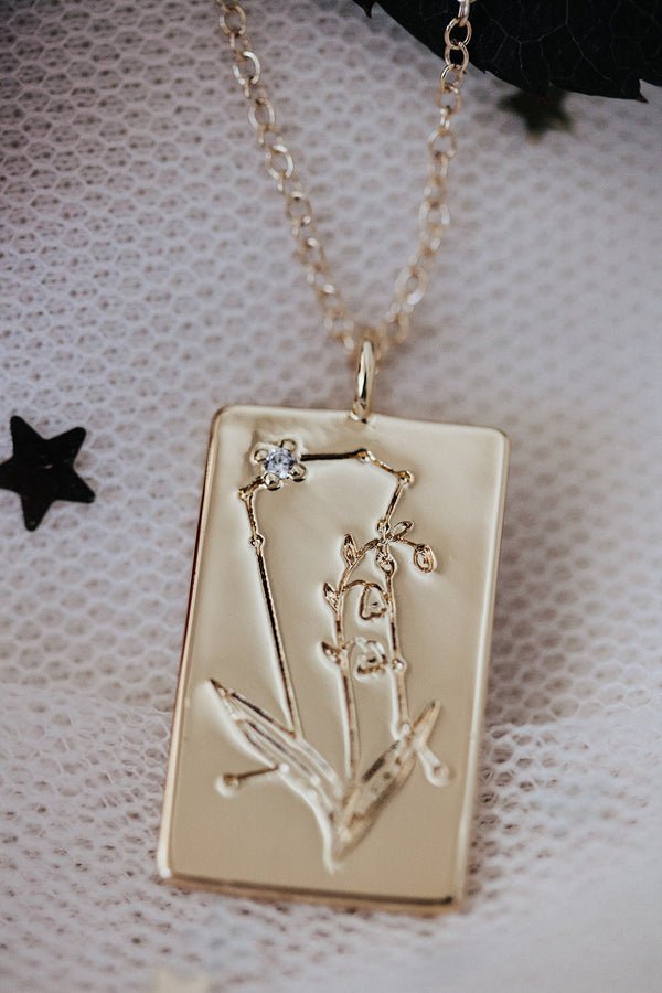 Birth Flower Zodiac Necklace-  Gemini Lily- May 21-31
