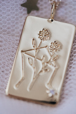 Birth Flower Zodiac Necklace- Libra Aster- September 23-30