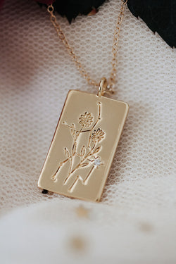 Birth Flower Zodiac Necklace- Virgo Aster- September 1-22