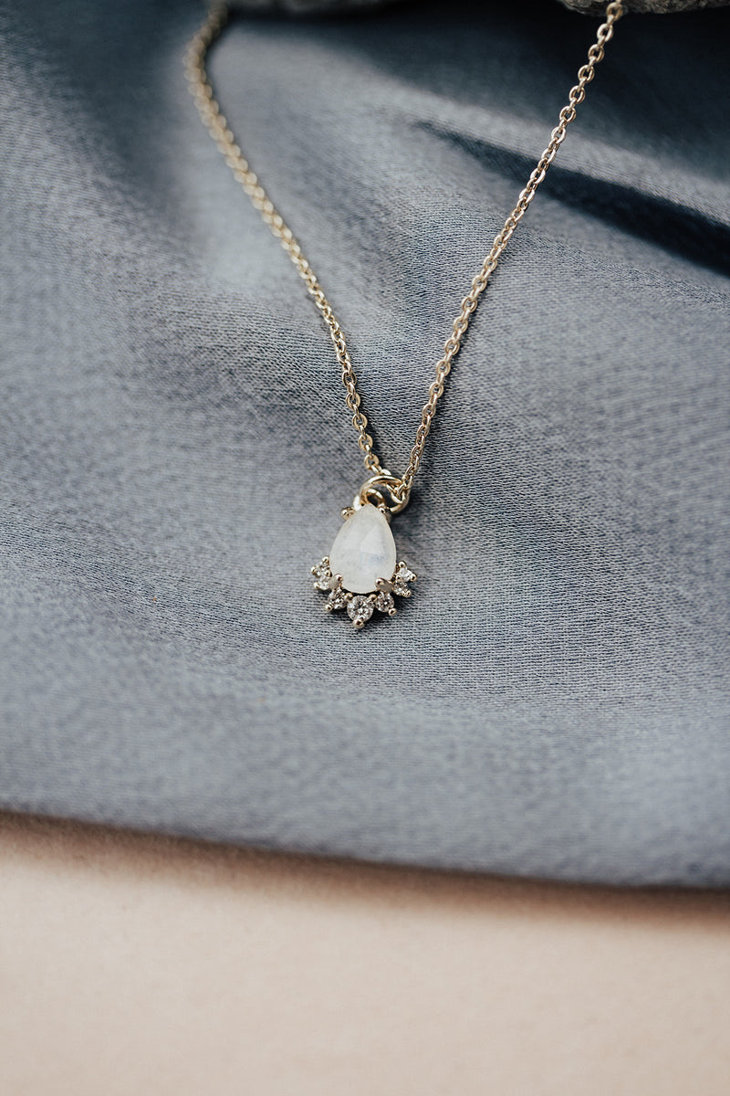 The Helios Teardrop Necklace- choose from moonstone & blue topaz