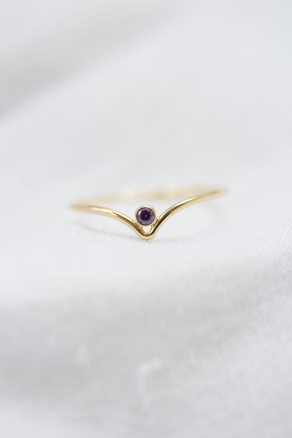Minimalist February Birthstone Ring
