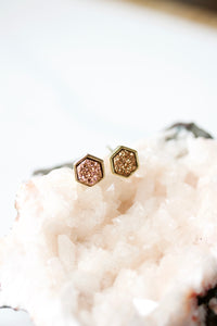 Harlow Tiny Hexagon Druzy Studs - Rose Gold