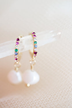 Rainbow and Pearl Huggie Hoops
