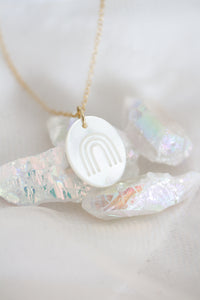 Rainbow Connection mother of pearl pendant necklace
