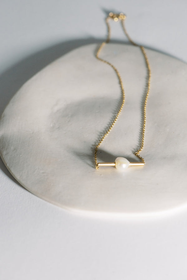 Stay Balanced - Organic Baroque Pearl Bar Necklace