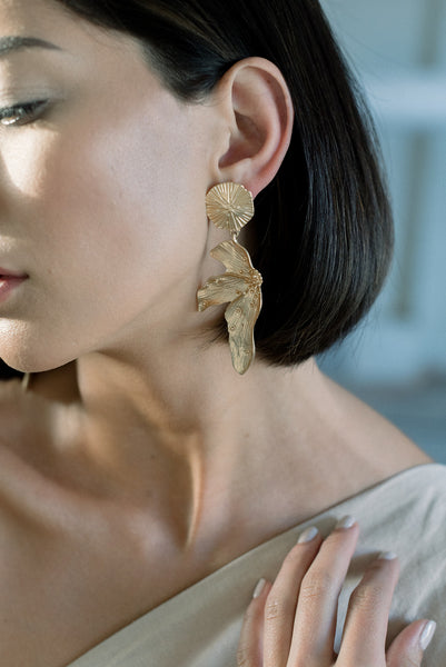 Stay Delicate Brass Petal Earrings