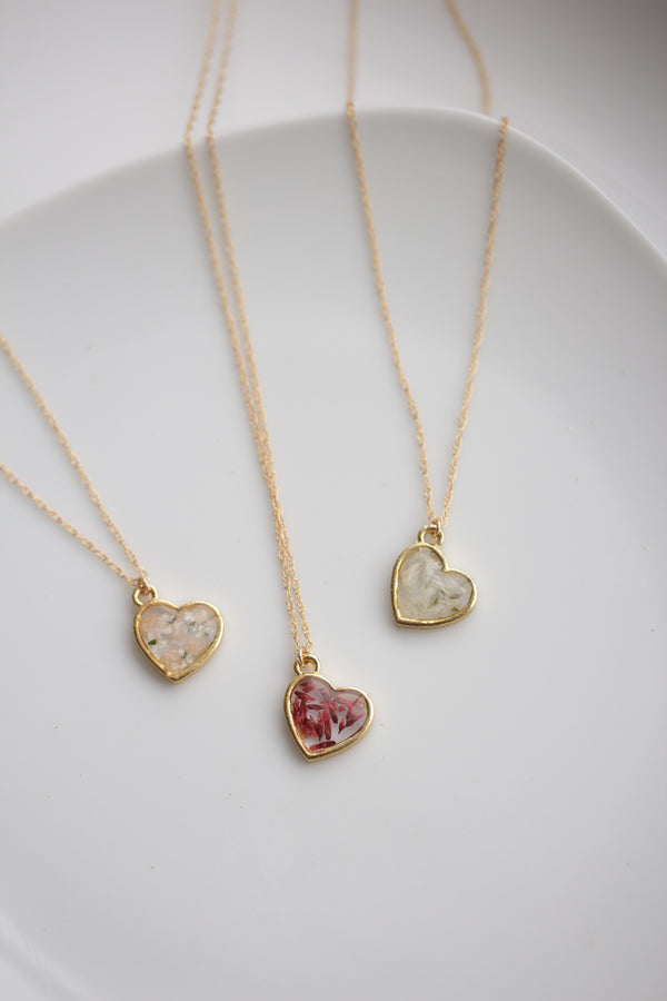 Pressed Flower Heart Necklace - Limited Edition