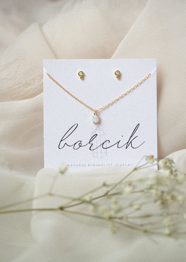 Barely There Opal Necklace and Earrings Set